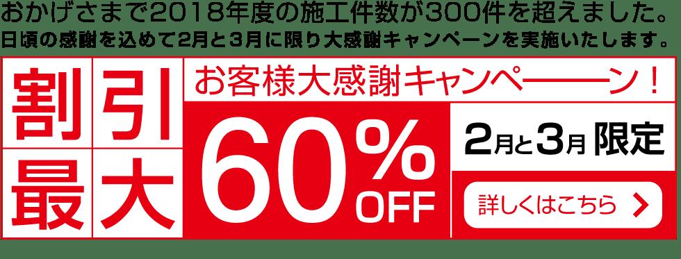 お客様大感謝キャンペーン!2月3月限定割引最大60%OFF!